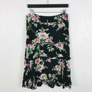 CAbi Size 6 Small Skirt Black Floral Tiered